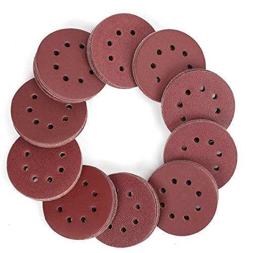 Chizea 110 discos de lijado, 125 mm, 8 agujeros, gancho y bucle, grano 60/80/100/120/180/240/320/400/600/800, papel de lija surtido para lijadora orbital aleatoria