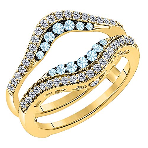 Women's 14k Yellow Gold Plated Alloy Double Row Pave Set 0.50(ctw) CZ Aquamarine & Cubic Zirconia Round Wedding Band Solitaire Enhancer Guard Wrap Ring