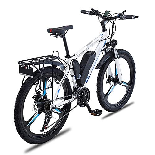 Bicicleta Eléctrica, 26 Pulgadas para Adultos, Bicicleta De Montaña con Motor De 350 W, Batería Extraíble De 36 V / 10 Ah, Engranajes De 21 Velocidades, Frenos De Disco Dobles,Blanco,8AH