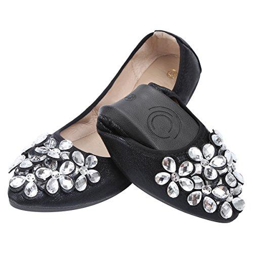 Qimaoo Damen Klassische Ballerina Geschlossene Glitzer Ballerinas Mokassin Slip-on Sommer Flache Schuhe mit Strass, Schwarz Silber und Gold,Schwarz,41 EU