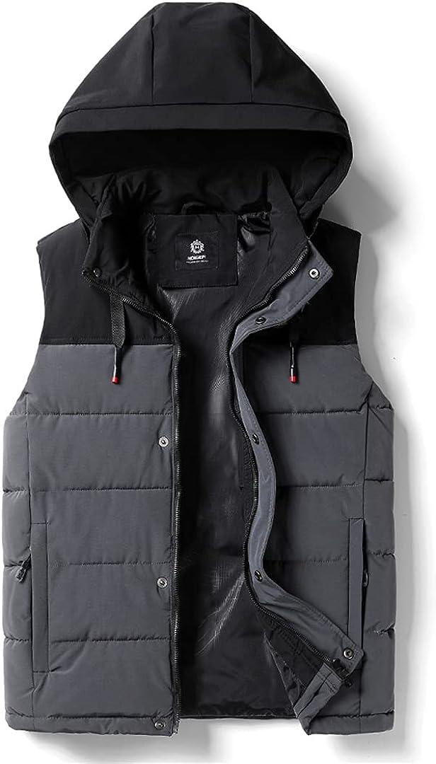 Men Thick Hooded Sleeveless Vest Jacket Waistcoat Men Winter Outwear Fashion Casual Warm Cotton Vests Waistcoat