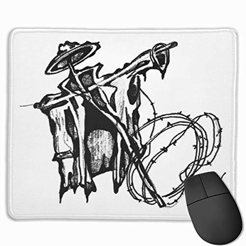 Nettes Gaming-Mauspad, Schreibtisch-Mauspad, kleine Mauspads für Laptop-Computer, Mausmatte Landwirtschaft Zeichnung Bleistift Vogelscheuche Schwarz Cartoon Charakter Crow Doll