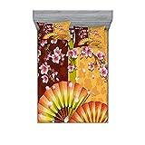 Juego de sábanas y fundas de almohada, diseño floral, composición de la floreciente Sakura Blooms arte japonés, decoración de cama de 3 piezas, tamaño doble, caléndula rosa