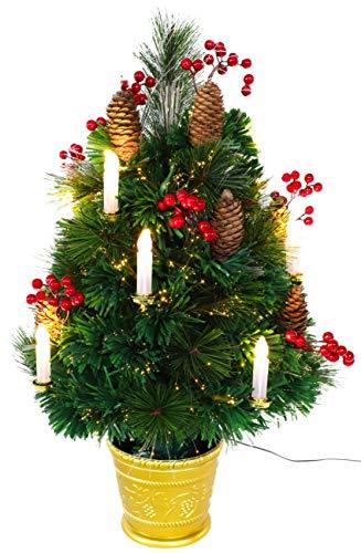 Christmas Concepts® 2ft (60cm) Arbre de Noël de pin Verte à Fibre Optique avec cônes, Baies Rouges et Bougies LED