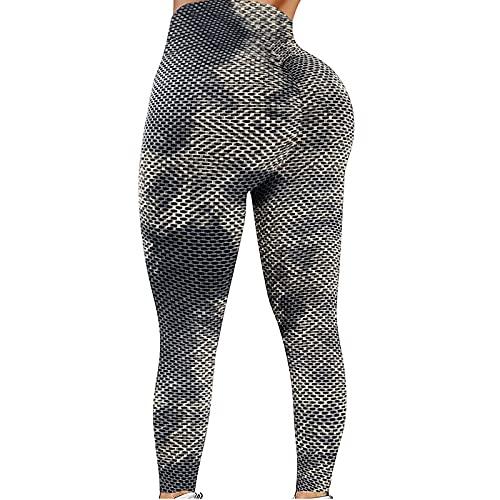 Pantalones Deportivos Jacquard Tie-dye para Mujer Leggings de Textura de Panal Leggins Push Up de Cintura Alta Pantalón de Deporte Transpirables y Elásticos Mallas de Yoga para Correr Gym Fitness