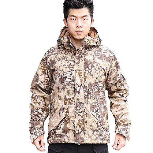 Nieuwe Art-Mann-multifunctionele outdoor jacht camping jas softshell camouflage dikke fleece binnenjas hoodie horseshoe cuffs