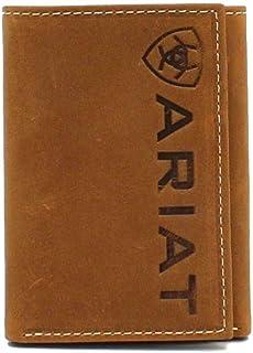 Ariat Western Mens Wallet Trifold Vertical Debossed Logo Brown A3545344