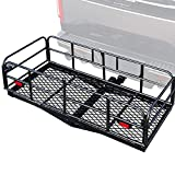OKLEAD Hitch Mount Cargo Carrier 60' x 24' x 14.4' Luggage Basket Folding Cargo Rack Rear Hitch Tray 420 Lbs Fit Receiver for SUV Car Pickup