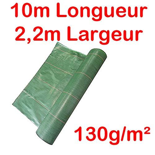 Toile Bache de paillage tissée Anti-Mauvaises Herbes Largeur 2,2m Longueur 10m / 130g/m2
