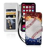 スポーツ燃えるような野球 Iphone11スマホケース 手帳型 レザー 財布型 ワイヤレス充電可能 マ……