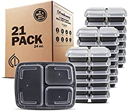 Freshware Meal Prep Containers [21 Pack] 3 Compartment with Lids, Food Storage Containers, Bento Box, Stackable, Microwave/Dishwasher/Freezer Safe (24 oz)