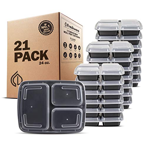 Freshware Meal Prep Containers [21 Pack] 3 Compartment with Lids