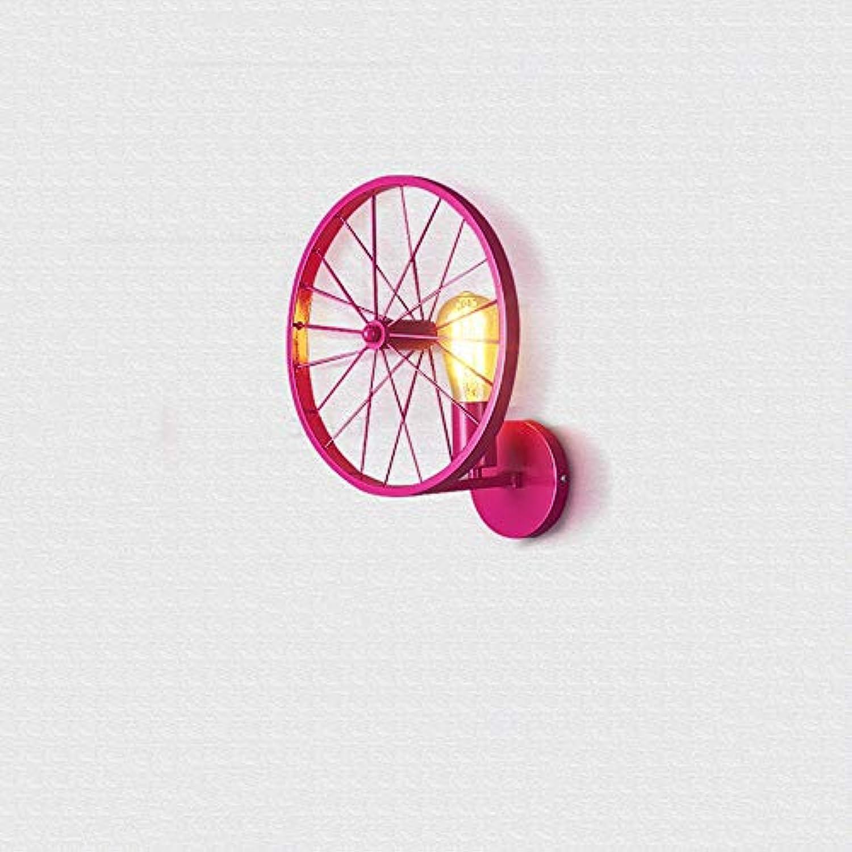 Hai Ying   Single Head Nordic Industrial Wind Kreative Eisen Rad Wandleuchte Amerikanische Retro Gang nachtwandlampe Bar personalisierte leuchten Vier Farben (Gre  33  30 cm)