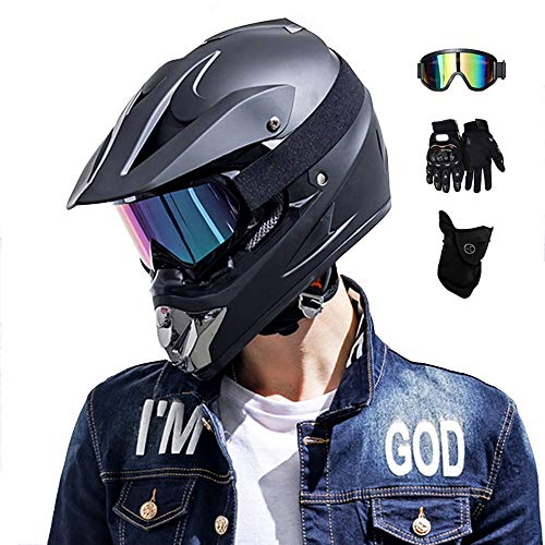 MRDEAR Downhill Helm Set, Matt Schwarz, Fullface MTB Helm Herren, Motocross Helm mit Brille (4 Stück) Kinder Motorrad Crosshelm Crossbike Enduro Off Road Cross Helm Mopedhelm Motorradhelm (S)