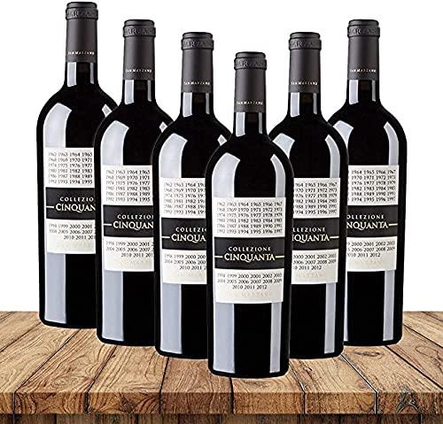 San Marzano Collezione Cinquanta 2012  Weinpaket Rotwein (6 x 0,75 Liter)   Rotweine aus Italien   Vegan