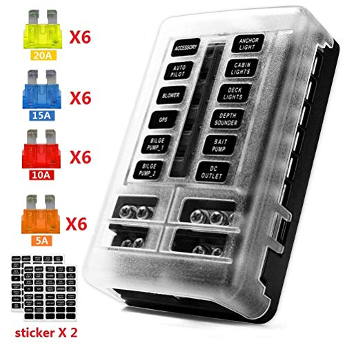 12-Way 12V Blade Fuse Block, 12 Volt Automotive Fuse Box Holder Waterproof with Negative Bus 5A 10A 15A 20A Fuse Panel LED Indicator for Auto, RV, Car, Boat, Marine, Truck