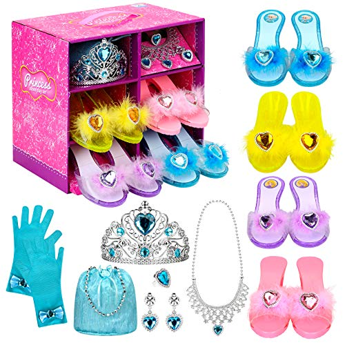 Princess Dress Up Shoes Set Girls Role Play Shoes Pretend Jewelry Toys Set Gift Set 4 Pairs of Shoes Kit Collection of Tiara Crown Earrings Necklace Rings Handbag Gloves for Girls Aged 3-6 Years Old