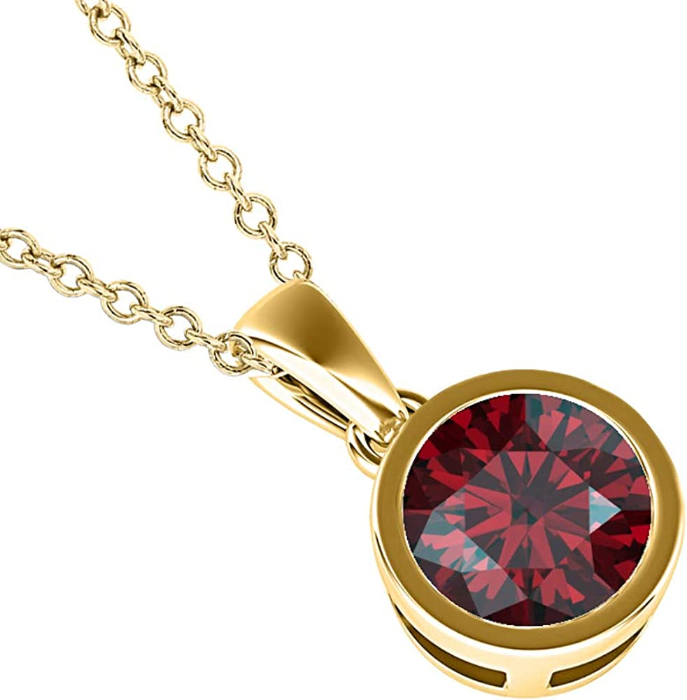 dazzlingjewelrycollection 3mm to 10mm Round Cut Created Red Garnet 14k Gold Over .925 Sterling Silver Bezel Set Cross Pendant for Womens