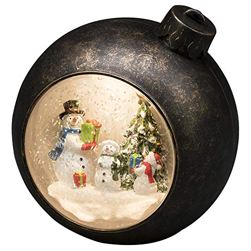 """Konstsmide, 4361-000, LED Weihnachtskugel """"Schneemänner"""", wassergefüllt, 5h Timer, warm weiße Diode, batteriebetrieben, Innen"""