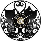 12 pulgadas gato parejas reloj de vinilo led lámpara de pared vintage lp retroiluminación moderna hecha a mano regalo arte...