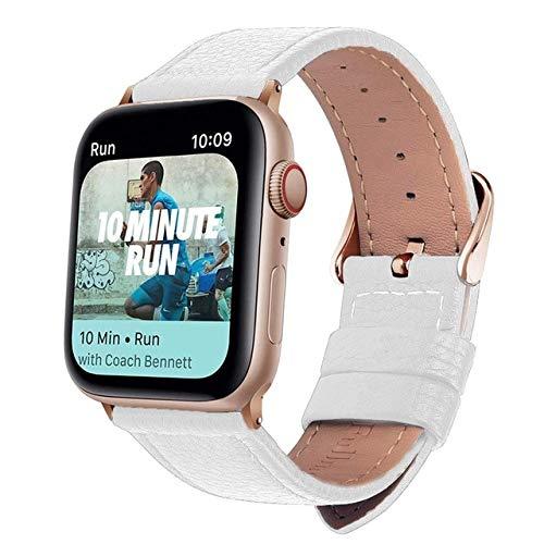 3-kleuren lederen band voor Apple Horlogeband Serie 5/4/3/2/1 armband, 44mm, Wit Rose Goud