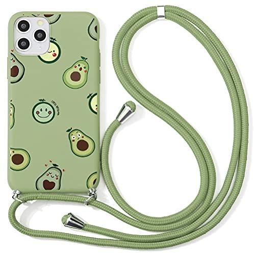 """ZhuoFan Handykette Handyhülle mit Band für Samsung Galaxy S7 [5.1""""] Handy-Kette Silikon Motiv mit Kordel zum Umhängen - Handy Band Halsband Necklace/Lanyard Cover,Grün"""