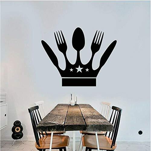 Keukendecoratie kamerdecoratie vinyl wandmes en vork messen afneembare wandtattoo huisdecoratie logo startpagina sticker 42x54 cm
