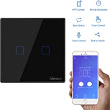 Sonoff Smart Wi-fi Light Switch, Touch Panel Wall Switch 1/2/3 Gang, Compatible con Alexa y Google Assistant, APP Remote Control Timer Function