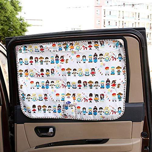 Wifehelper 70 x 50 cm, 1 para autogordijn, anti-uv-vriendelijk, instelbaar, zonwering, leuke leuke cartoonpatroon, auto voorkant raam gordijn