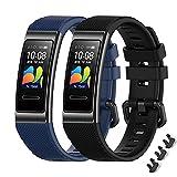 MIJOBS 2-teilige Armbänder für Huawei Band 4 Pro / Band 3 Pro / Band 3 Ersatzriemen Atmungsaktive und Weiche Sportarmbänder mit Silikonbändern Kompatibel mit Huawei Band 3/3Pro/4Pro
