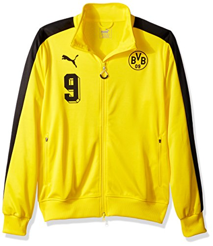PUMA Men's BVB T7 Jacket, Cyber Yellow Black, Medium