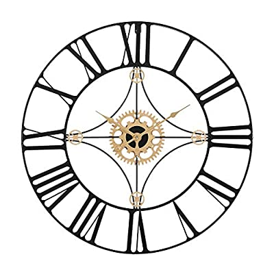 """Retrome 24"""" Large Metal Wall Clock with Black Roman Numerals, Oversized Industrial Truly Silent Non-Ticking Decorative Wall Clocks for Living Room, Black"""