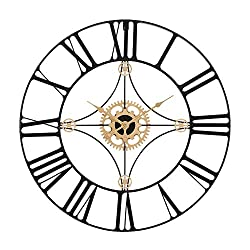 Retrome 24 Large Metal Wall Clock with Black Roman Numerals, Oversized Industrial Silent Non-Ticking Decorative Wall Clocks for Living Room, Black