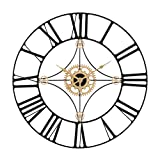 Retrome 24' Large Metal Wall Clock with Black Roman Numerals, Oversized Industrial Truly Silent Non-Ticking Decorative Wall Clocks for Living Room, Black