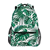 Back to School Girl Laptop Backpack, Palm Tree Leaf Water Resistant College Students Travel Computer Notebooks Backpack for Women