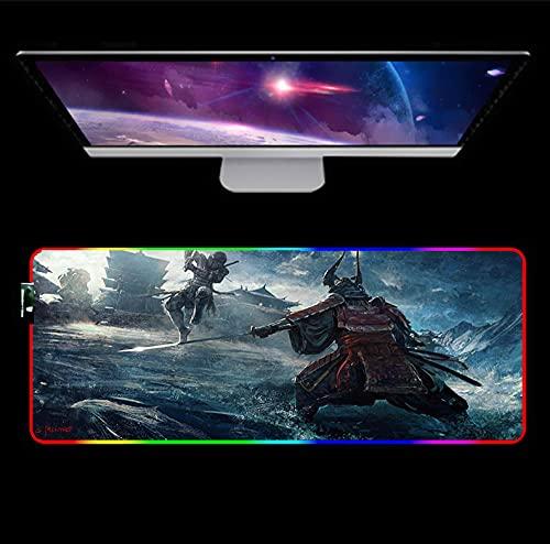 RGB Gaming Mouse pad Samurai Anime RGB Gaming Large Mousepad LED Backlit Lighting Natural Rubber Keyboard Mouse Mat C XL