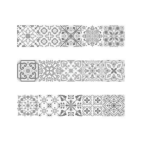 Decorativos Adhesivos para Azulejos Pegatina de Pared - Estilo clásico europeo Cenefa Autoadhesivo- para Baño y Cocina - 20cmx20cmx15 pcs
