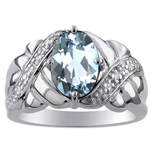 Femmes aigue-marine et diamant Bague Or blanc 14K