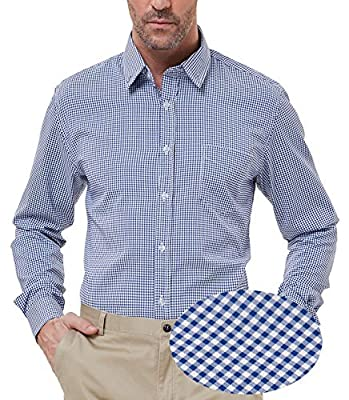 PAUL JONES Men's Modern Fit Checkered Shirt Gingham Plaid Dress Shirt