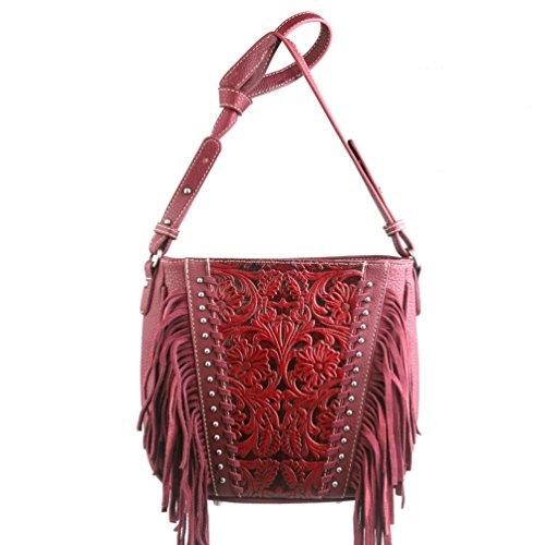 Trinity Ranch Handtasche Schultertasche Westerntasche Fransen Nieten in 3 Farben (rot)