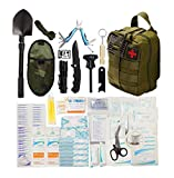 WildmanSurvival 313 pcs. Survival First Aid Kit IFAK Molle System Compatible Outdoor Gear Emergency Kits Trauma Bag for Camping Hunting Hiking Home Boat Car Earthquake and Adventures (green)