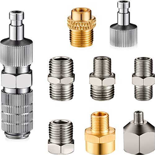 9 Pieces Airbrush Adapter Set, Include Airbrush Adapter Kit Airbrush Quick Release Disconnect Fitting Connector Set for Air Compressor and Airbrush Hose