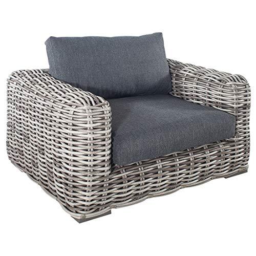 OUTLIV. Arosa Sessel aus Aluminium/Polyrattan-Rundgeflecht in Grau-Braun, Gartensessel mit Sitzkissen aus Polyester in Anthrazit für Ihren Garten oder Balkon…