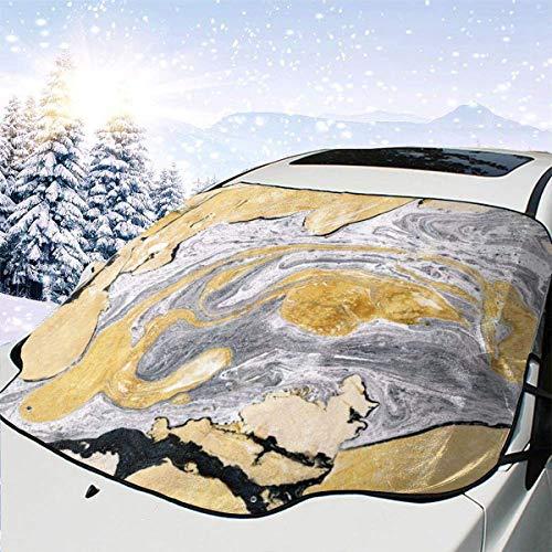GOSMAO Protector de ParabrisasLíquido de mármol Gris Dorado Cubierta de Parabrisas Coche Protege de Rayos Antihielo y Nieve, UV, Lluvia, Funda Plegable Delantero 147 * 118cm