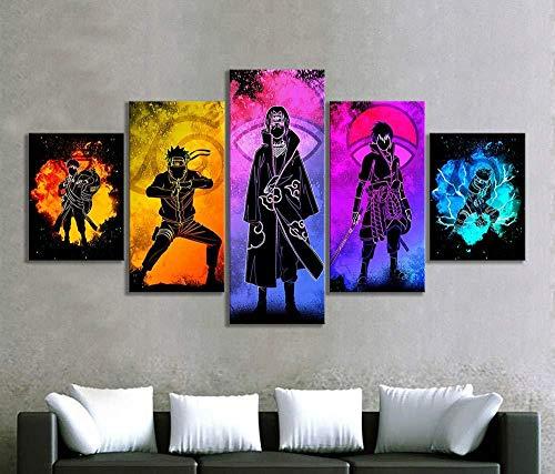LIFUSHA 5pcs Soul of Naruto Charaktere Bild Abstrakte Wandkunst Leinwandbilder HD Wandbild für Wohnzimmer Dekor-40x60 40x80 40x100cm Kein Rahmen …