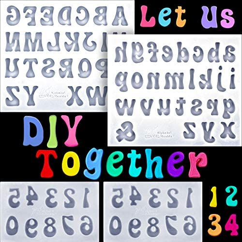 4 Pieces Letters Molds and Numbers Molds Silicone Fondant Mold Chocolate Molds Lowercase Uppercase product image