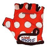 KIDDIMOTO Kinder Fahrradhandschuhe Fingerlose für Jungen und Mädchen/Fahrrad Handschuhe/Bike Kinder Handschuhe - Rote Punkte - M (4-8y)