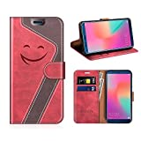 MOBESV Smiley Honor View 10 Hülle Leder, Honor View 10 Tasche Lederhülle/Wallet Hülle/Ledertasche Handyhülle/Schutzhülle für Honor View 10, Rot/Dunkel Violett