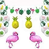 45 Stück Hawaiianische Tropische Dekoration Set Tropische Blätter Flamingo Banner Girlande mit bunten Ananas Flamingo Luftballons Strand Party Zubehör für Luau Party Dschungel Sommer Tischdekoration