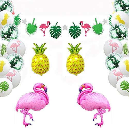 Decoración tropical hawaiana, Artículos para fiestas en La Playa con piña colorida Flamingo Globos Palm Simulación Hojas Papel de Bunting Banner y Paquete de Globos Látex